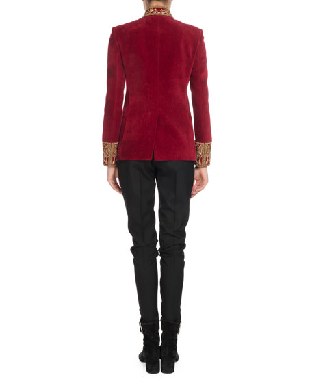 Stand-Collar Button-Front Velvet Jacket w/ Embroidered Neck & Cuffs