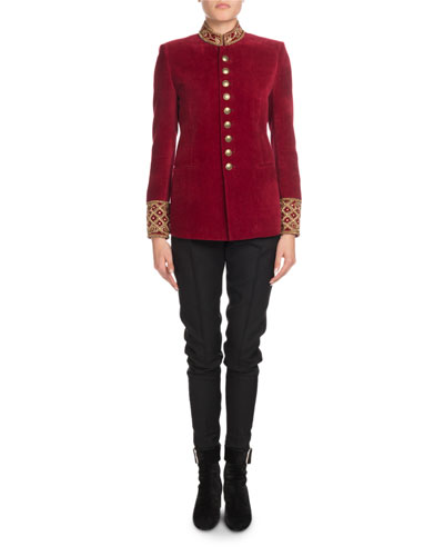 Stand-Collar Button-Front Velvet Jacket w/ Embroidered Neck & Cuffs and Matching Items