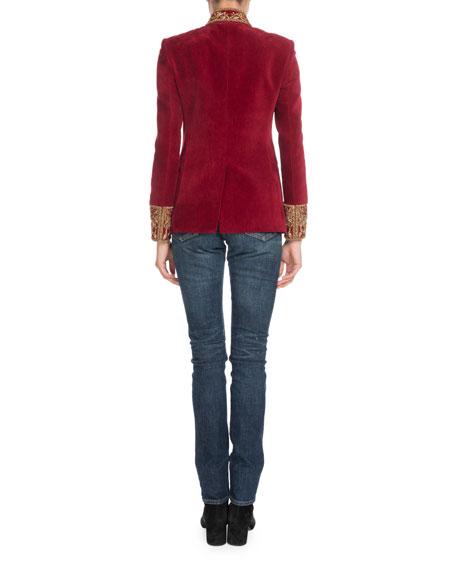 Stand-Collar Button-Front Velvet Jacket w/ Embroidered Neck & Cuffs
