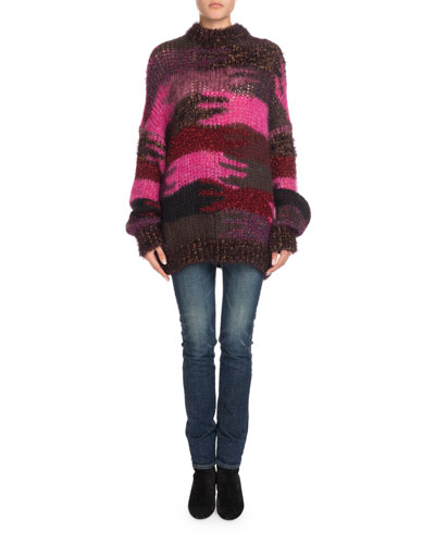 Crewneck Camo Patchwork Mohair-Blend Sweater and Matching Items
