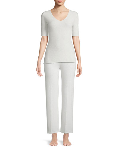 Cashmere Short-Sleeve Lounge Top and Matching Items