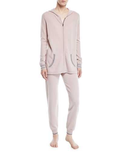 Luxury Cashmere Metallic-Trim Zip-Front Hoodie and Matching Items