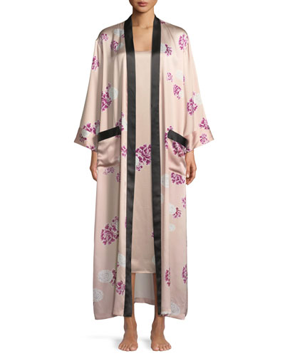 Contrast-Trim Floral-Print Silk Robe and Matching Items
