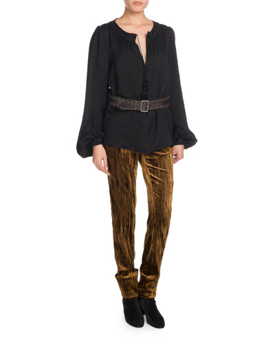Crinkled-Velvet Straight-Leg Pants and Matching Items