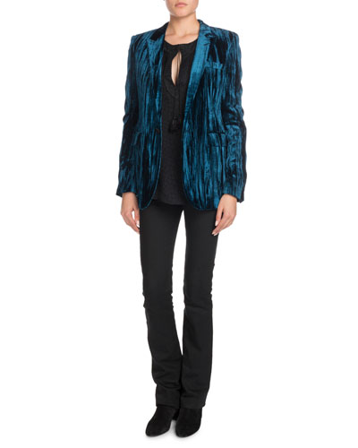 Crinkled-Velvet One-Button Blazer  and Matching Items