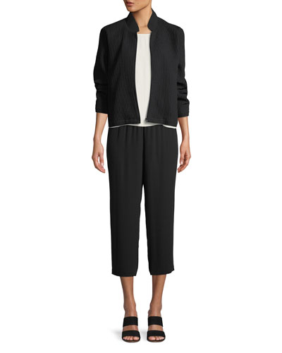 Stretch-Grid Zip-Front Bomber Jacket and Matching Items