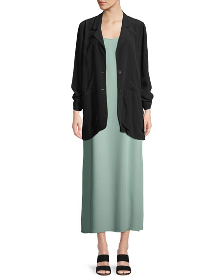 Long Crepe Two-Button Blazer, Petite