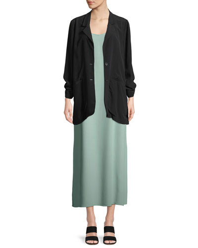 Long Crepe Two-Button Blazer, Plus Size  and Matching Items