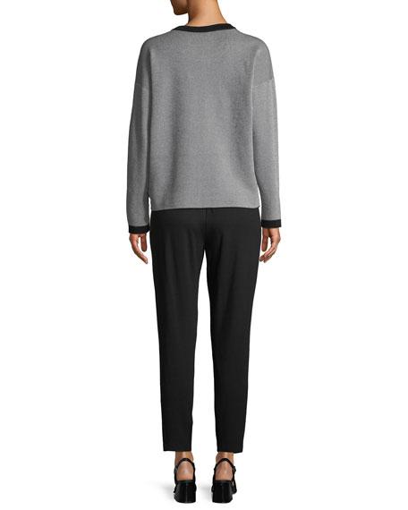 Long-Sleeve Vertical Striped Sweater, Petite