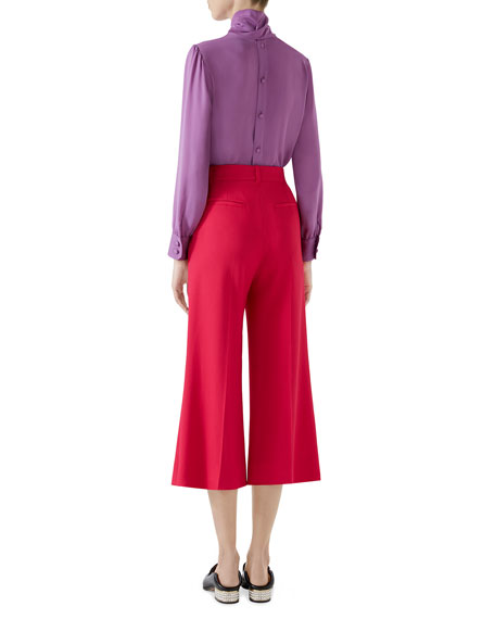 Button-Back Long-Sleeve Scarf-Neck Silk Satin Georgette Blouse