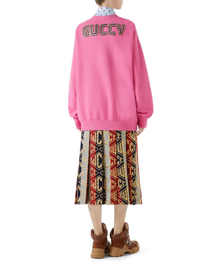 Orso and Bosco Heavy Felt Oversized Cotton Sweatshirt w/ Beaded Guccy