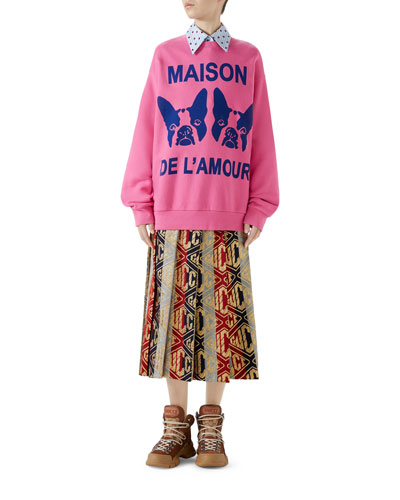 Orso and Bosco Heavy Felt Oversized Cotton Sweatshirt w/ Beaded Guccy and Matching Items