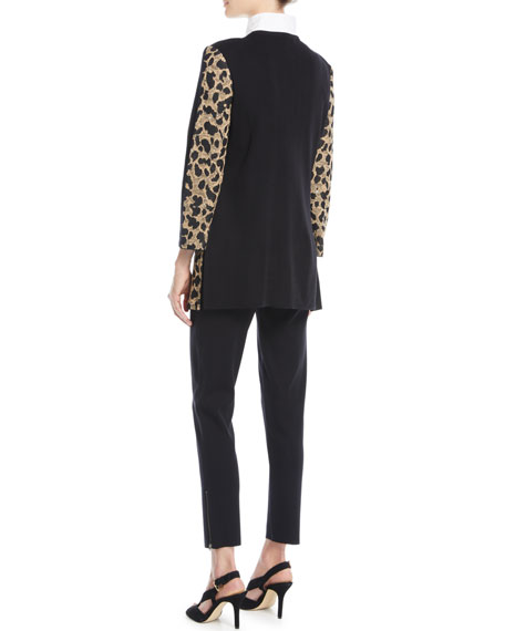 Animal-Print Long Jacket, Petite