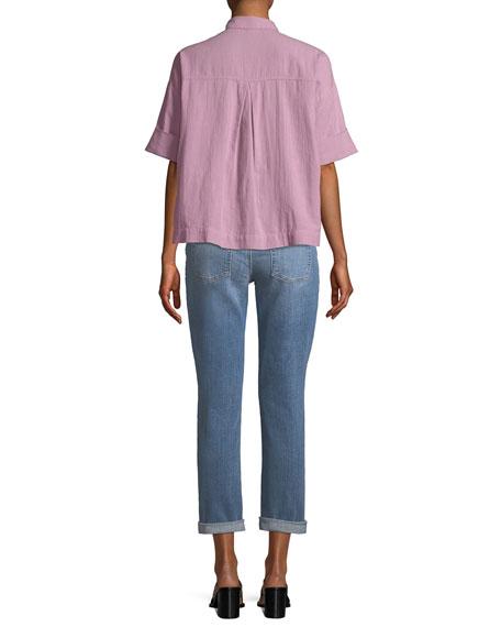 Boxy Cotton Crepe Shirt, Plus Size