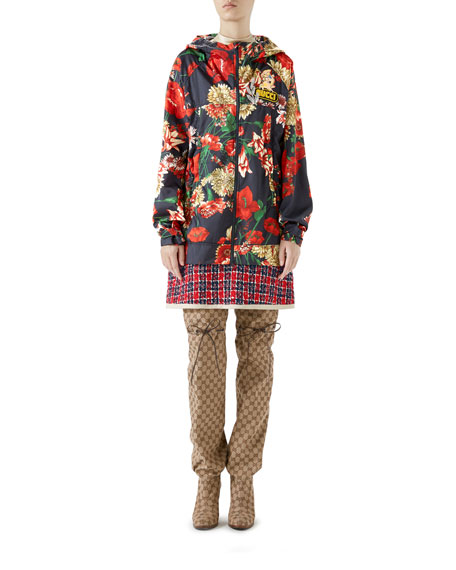 Zip-Front Hooded Spring Floral-Bouquet Print Nylon Jacket w/ Logo Patch