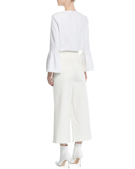 Structured Crepe Bell-Sleeve Top