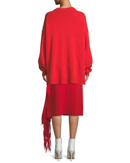 Deep-V Long-Sleeve Oversized Cashmere Sweater w/ Patch Pocket