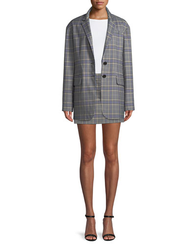 Lucas Plaid Suiting Oversized Single-Breasted Blazer and Matching Items