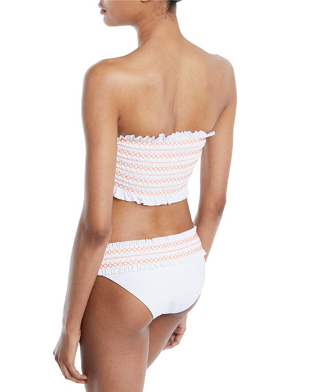 Costa Smocked Bandeau Bikini Swim Top