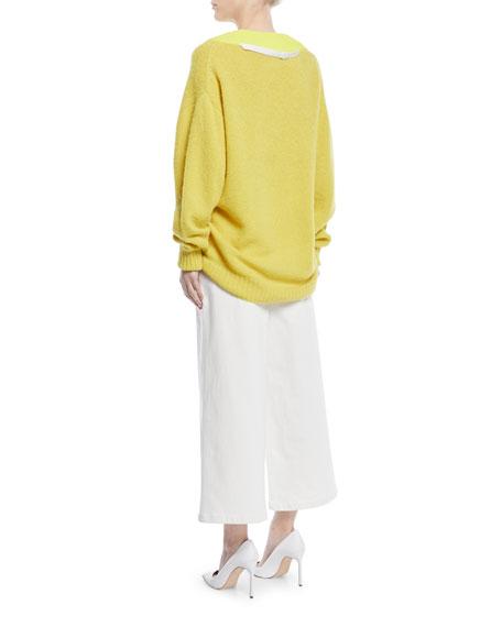 Airy Alpaca Pullover Sweater w/ Contrast Rib
