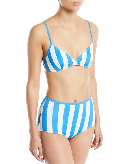 The Brigitte Striped Bikini Swim Top