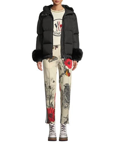 Effraie Hooded Fur-Cuff Jacket and Matching Items