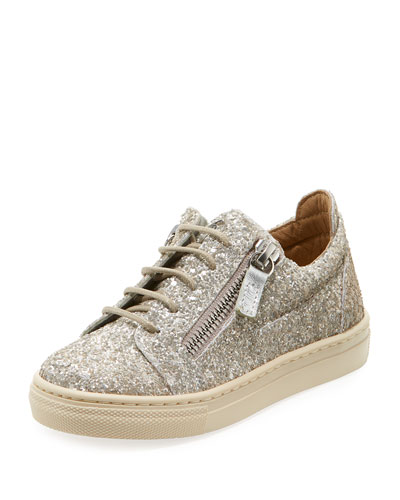 Glittered Low-Top Double Zip Sneakers, Toddler  and Matching Items