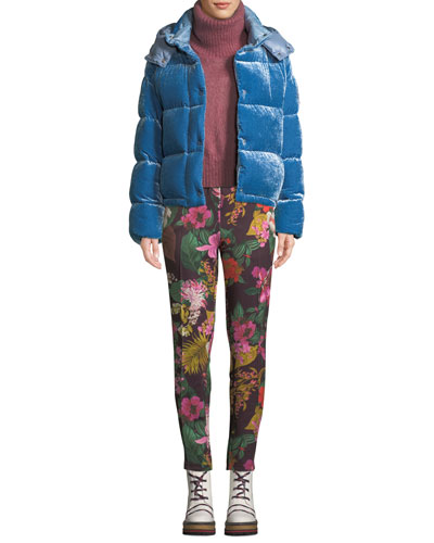 Caille Velvet Puffer Coat w/ Detachable Hood and Matching Items