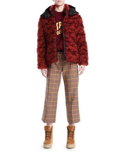 Badyp Mohair-Blend Puffer Jacket w/ Contrast Hood and Matching Items