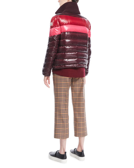 Albatros Tricolor Puffer Jacket w/ Knit Collar