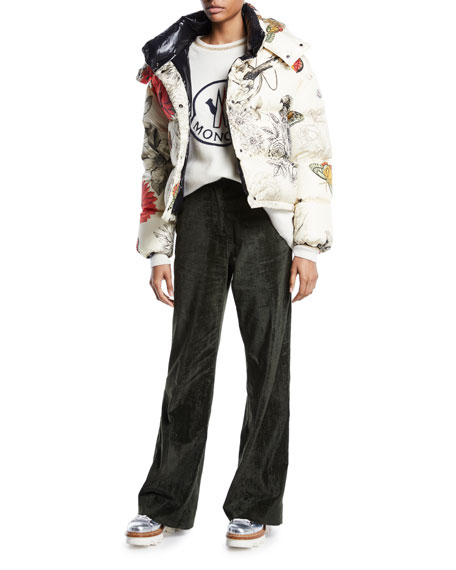 Caille Floral-Print Puffer Jacket w/ Removable Hood