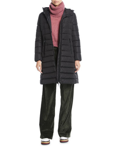 Zip-Front Hooded Mid-Length Quilted Puffer Jacket and Matching Items