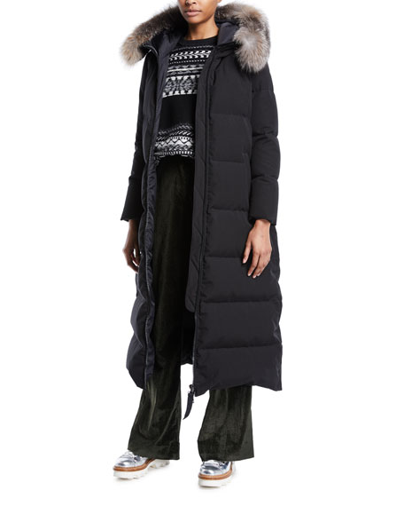 Bernache Long Puffer Coat w/ Hood & Fur Trim