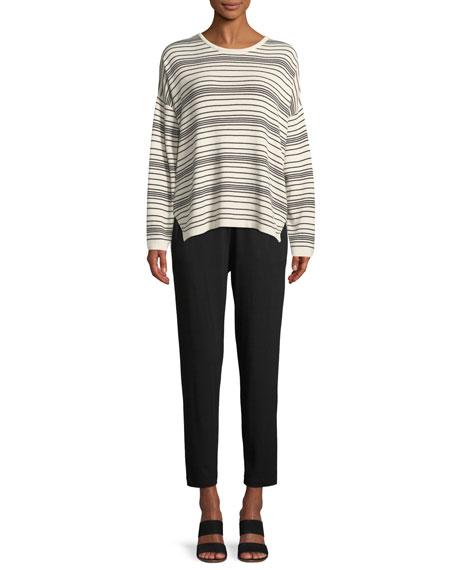 Long-Sleeve Striped Sweater, Plus Size