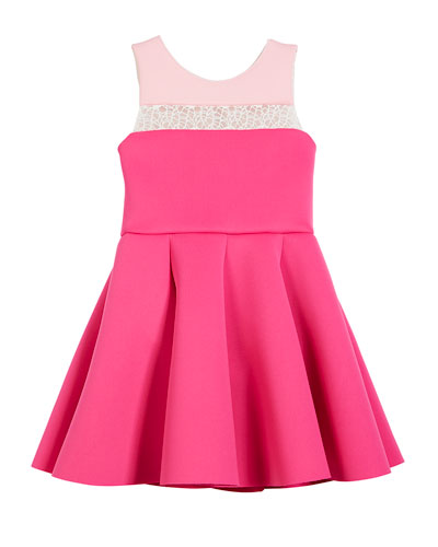 Colorblock 8-Panel Lace-Inset Swing Dress, Size 4-6X and Matching Items
