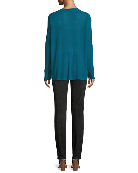 Organic Linen Box Sweater, Plus Size