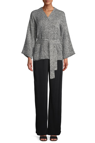 Eileen Fisher Petite Bracelet-Sleeve Cotton Kimono Short Jacket Petite Silk Jersey Long Slim Camisole