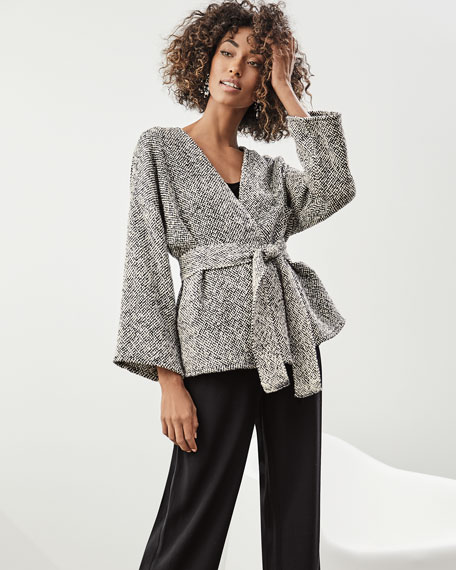 Bracelet-Sleeve Cotton Kimono Short Jacket, Plus Size