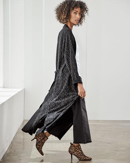 Morse Code Long Kimono Jacket, Plus Size