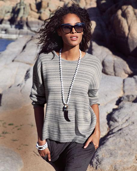 Long-Sleeve Striped Organic Cotton Sweater