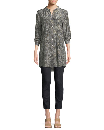 Willow-Print Mandarin-Collar Long Silk Shirt  and Matching Items