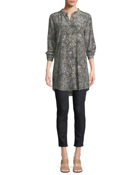 Willow-Print Mandarin-Collar Long Silk Shirt, Plus Size