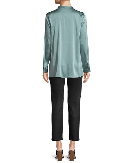Silk Charmeuse Mandarin-Collar Shirt
