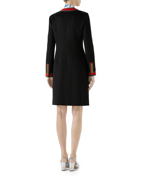 Single-Breasted Web-Trim 3-Pocket Wool Coat