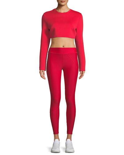 Long-Sleeve Neoprene Crewneck Crop Top and Matching Items