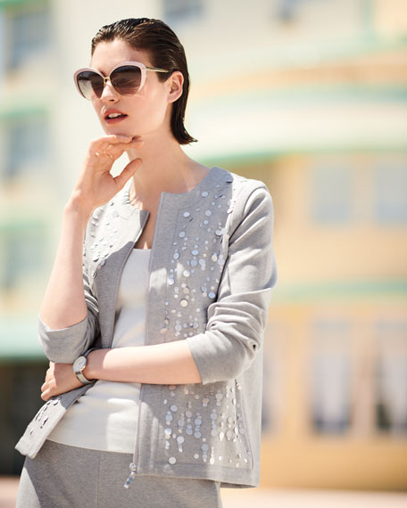 Sequined Zip-Front Knit Jacket, Petite