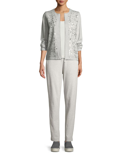Sequined Zip-Front Knit Jacket, Petite and Matching Items