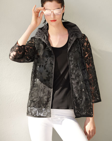After Hours Floral-Embroidered Jacket
