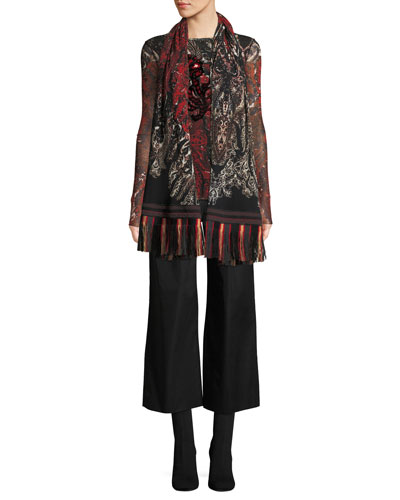 Long-Sleeve Embroidered Print Top and Matching Items