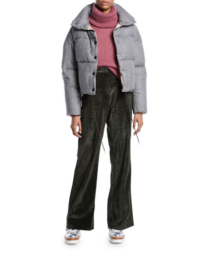 Cercis Cropped Wool Check Puffer Jacket and Matching Items